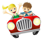 Cartoon man and woman in car — Stock Vector