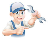 Plumber or mechanic pointing — Stock Vector