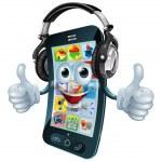 Music headphones phone — Stock Vector #24426227