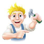 Guy construction pointant — Vecteur