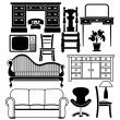 Stock Vector: Set of furniture