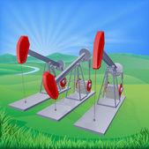 Oil well pumpjacks — Stock Vector
