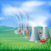 Power plant energy generation illustration — Vector de stock