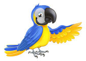 Cute blue and yellow parrot — Stock Vector