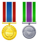 Hanging medals and ribbons — Stock Vector
