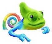 Rainbow chameleon pointing down — Stock Vector