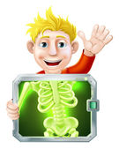 Xray Man Waving — Stock Vector