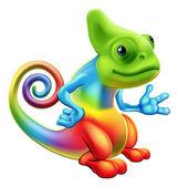 Cartoon rainbow chameleon — Stock Vector