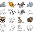图库矢量图片: Cartoon Wild Animal Illustrations