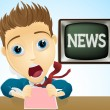 Shocked TV news presenter - Stock Vector