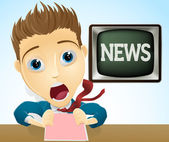 Shocked TV news presenter — Stock Vector