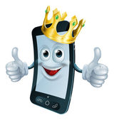 Phone man with crown — Stock Vector