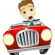 Cartoon man driving fast car - Stock Vector