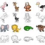 Cartoon Safari Animal Illustrations — Stock Vector