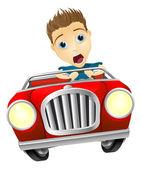Cartoon man driving fast car — Stock Vector