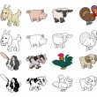 Vector de stock : Cartoon Farm Animal Illustrations