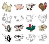 Cartoon Farm Animal Illustrations — Stock vektor