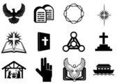 Iconos religiosos cristianos — Vector de stock