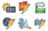 Kracht en energie pictogrammenset — Stockvector