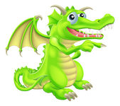 Cartoon Dragon Mascot Pointing — Stock Vector