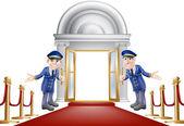 Red carpet entrance — Stock Vector