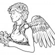 Stylised angel woman illustration — Stock Vector