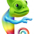 Rainbow chameleon pointing — Stock Vector #27343585