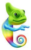 Rainbow chameleon pointing — Stock Vector