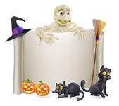 Halloween Mummy Scroll Sign — Stock Vector