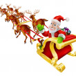 Cartoon Christmas Santa Claus Sled — Vector de stock