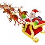 漫画のクリスマス サンタ クロースのそり — ストックベクタ