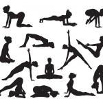 Silhouette Yoga poses — Stock Vector