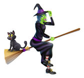 Halloween Witch on Broomstick with Cat — Stock Vector