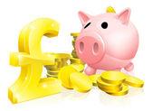 Pound sign piggy bank — Stock Vector
