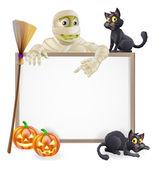 Mummy Halloween Sign — Stock Vector