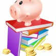 Piggy bank on books — Stock Vector