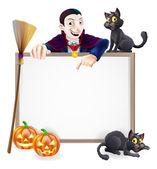 Dracula Halloween Sign — Stock Vector