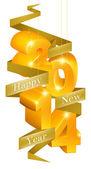 Happy New Year 2014 Ornaments — Stock Vector