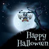 Blue Halloween Moon Bat Background — Stock Vector