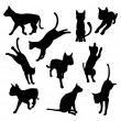Pet cat silhouettes — Stock Vector