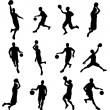 Basketballl player silhouettes — Stock Vector #29727097
