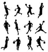 Basketballl player silhouettes — Stock Vector