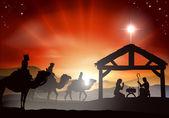 Christmas Nativity Scene — Stock Vector