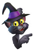 Black cat in witch hat — Stock Vector