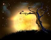 Oranje halloween maan boom achtergrond — Stockvector