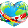 Heart globe with flags — Stock Vector #30196313