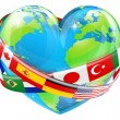 Stock Vector: Heart globe with flags