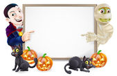Halloween Sign with Mummy and Dracula — Stock Vector