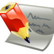 Pencil writing on paper icon clipart — Stock Vector
