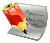 Penna som skriver på papper ikon clipart — Stockvektor